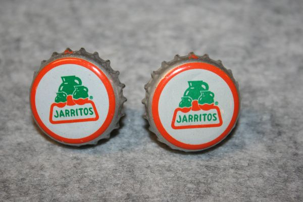 Handcrafted Cuff Links - Jarritos Soda Cap (Mexican) Cufflinks with Bright 24ct Gold Plated Bezels