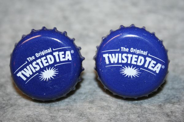 Handcrafted Cuff Links - Twisted Tea Bottle Cap Cufflinks with Bright 24ct Gold Plated Bezels