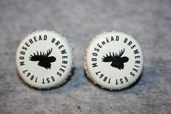 Handcrafted Cuff Links - Moose Head Beer Bottle Cap Cufflinks with Bright 24ct Gold Plated Bezels