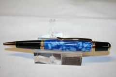 Handcrafted Acrylic Pen - Blue Ice Acrylic Executive Twist Pen in Bright Gold