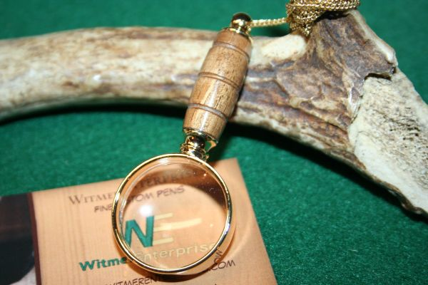 Handcrafted Reclaimed Claro Walnut Mini Magnifying Glass Pendant in a Beautiful 24 ct Gold Finish