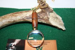 Handcrafted Ancient Kauri (50,000 year old) Mini Magnifying Glass Pendant in a Beautiful 24 ct Gold Finish