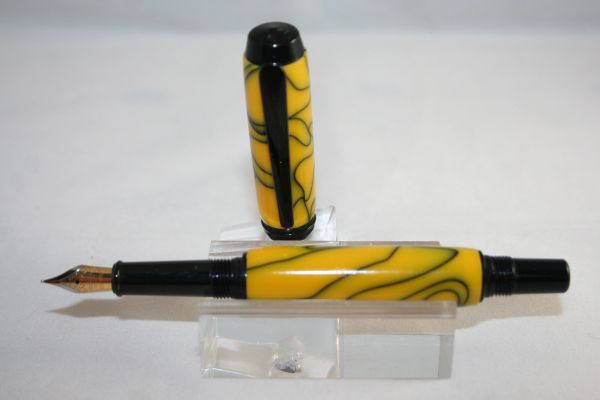 Handcrafted Acrylic Pen - Baron Fountain Pen Bumble Bee Acrylic Pen Finished in a Complimentary Black Chrome