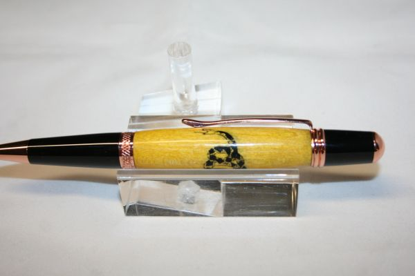 Handcrafted Wooden Pen - Gadsden Flag Executive Twist Inlay Pen Finished in Bright Copper