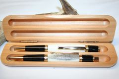 Handcrafted Elk Antler Pen - Elk Antler Executive Twist Pen and Click Pencil Set in a Bright 24 ct Gold Finish and Walnut Presentation Box