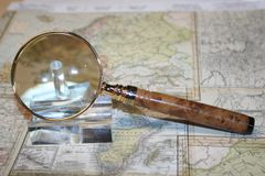 Handcrafted 2 1/2 inch Americana Magnifying Glass in Wild Almond Burl - Finely Crafted in Bright Gold