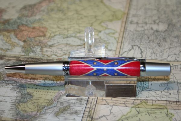Handcrafted Wooden Pen - Civil War Confederate Flag Inlay Elegant Executive Twist Pen Finished in Two-Tone Satin & Chrome