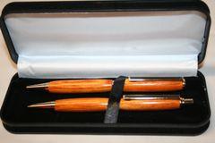 Handcrafted Wooden Pen - Orange Dyed Box Elder Slim Twist Pen and Click Pencil Set in a Bright Gold Finish/Cobalt Clip & Presentation Box