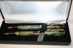 Handcrafted Wooden Pen - Classic Teal Dyed Buckeye Burl Twist Pen and Pencil Set in a Bright Gold Finish with a Deluxe Presentation Box