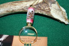 Handcrafted Mini Magnifying Glass Pendant - Pine Cones in Raspberry Vanilla Alumilite with a Bright 24 ct Gold Finish