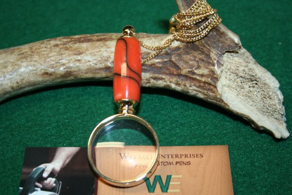 Handcrafted Mini Magnifying Glass Pendant in Frosty Pumpkin Acrylic with a Bright 24 ct Gold Finish