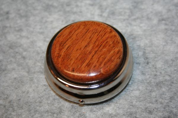 Handcrafted Wooden Mini Pill/Secret Box - Beautiful South American Jatoba Cap in a Pewter Plated Finished Pill or Secret Box