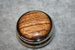 Handcrafted Wooden Mini Pill/Secret Box - Beautifully Grained African Zebrawood Cap in a Bright Pewter Finished Pill or Secret Box