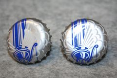 Handcrafted Cuff Links - (New Cap Design) Steam Whistle Pilsner Beer Cap with 24 ct Gold Plated Bezels