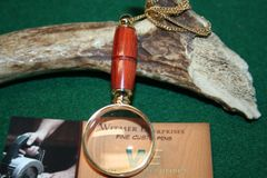 Handcrafted African Padauk Mini Magnifying Glass Pendant in a Beautiful 24ct Gold Plate Finish