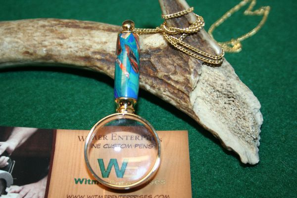 Handcrafted Blue and Green Mosaic Alumilite Mini Magnifying Glass Pendant in a Bright 24 ct Gold Finish