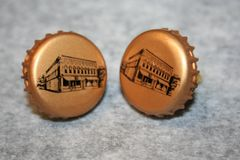 Handcrafted Bottle Cap Cuff Links - Creemore Brewing Beer Cap Cufflinks with Bright 24ct Gold Plated Bezels