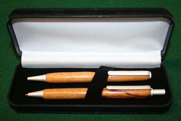 Handcrafted Wooden Pen - Marblewood Slim Twist Pen and Click Pencil Set in a Luxurious Satin Pearl Finish with a Presentation Box