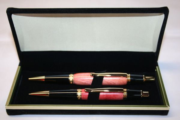Handcrafted Wooden Pen - Pink Ivory Executive Click Pen and Click Pencil Set in a Bright Chrome Finish with a Deluxe Presentation Box