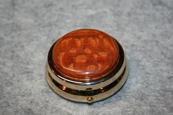 Handcrafted Wooden Mini Pill or Secret Box - Exotic Leopardwood Cap in a 24 ct Gold Finished Pill Box/Secret Box