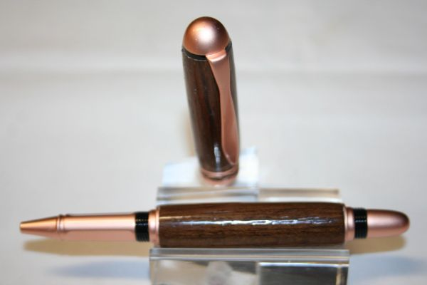 Handcrafted Wooden Pen - Sedona Roller Ball Pen in USS North Carolina Original Teak Decking in Beautiful & Complementing Satin Copper Finish
