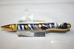 Handcrafted Acrylic Pen - Hybrid Cigar Pen in a Beautiful Viking Holm Alumilite Finished in Two-Tone Gold - V