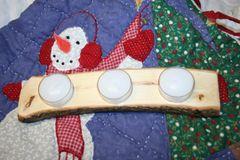 Handcrafted Wooden Candle Holder - Live Edge Oak Tea Light Holder with Tea Lights