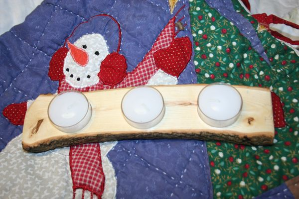 Handcrafted Wooden Candle Holder - Live Edge Oak Tea Light Holder with Tea Lights