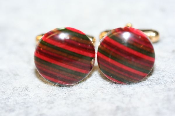 Handcrafted Colorful Fiesta Dyed Hardwoods Laminate 24 ct Gold Plated Cuff Links