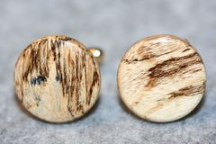 Handcrafted Beautiful Cross Cut Spalted Hackberry 24 ct Gold Plated Cuff Links