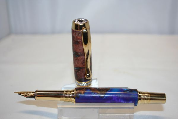 Handcrafted Wooden Pen - Triton Fountain Pen in a Cancun Fusion Burl & Alumilite Finished in Bright 24 ct Gold with Chrome Accents