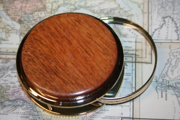 Handcrafted South American Jatoba Large Magnifying Glass Paperweight in a Beautiful 24 ct Gold Finish