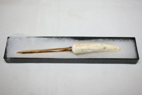 Handcrafted Elk Antler Slim Letter Opener in a Bright 24ct Gold Plate Finish