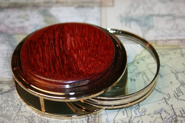 Handcrafted African Padauk Large Magnifying Glass Paperweight in a Beautiful 24 ct Gold Finish