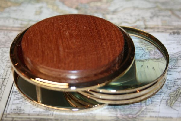 Handcrafted African Sapele Large Magnifying Glass Paperweight in a Beautiful 24 ct Gold Finish