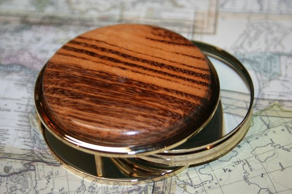 Handcrafted Tigerwood Large Magnifying Glass Paperweight in a Beautiful 24 ct Gold Finish