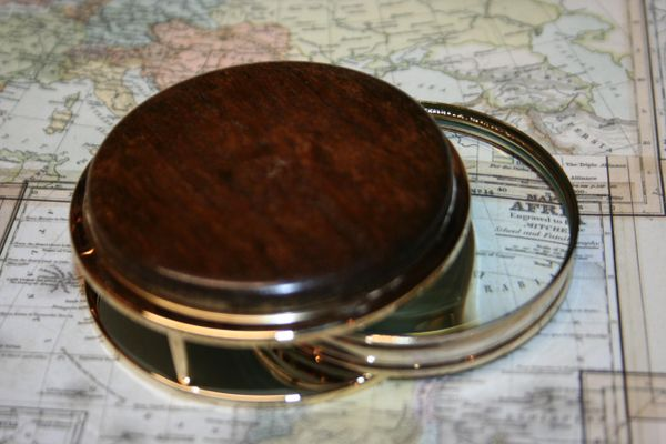 Handcrafted Desert Ironwood Large Magnifying Glass Paperweight in a Beautiful 24 ct Gold Finish