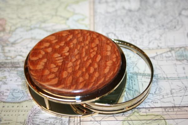Handcrafted Leopardwood Large Magnifying Glass Paperweight in a Beautiful 24 ct Gold Finish