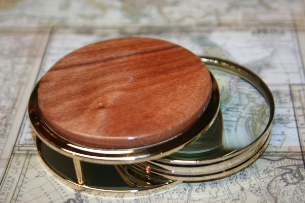 Handcrafted Bolivian Rosewood Large Magnifying Glass Paperweight in a Beautiful 24 ct Gold Finish