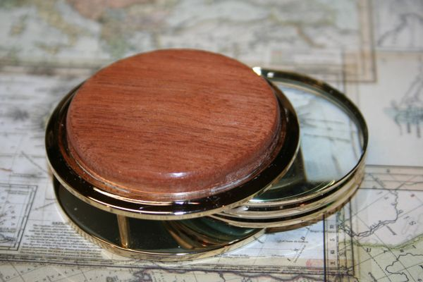 Handcrafted South American Lyptus Large Magnifying Glass Paperweight in a Beautiful 24 ct Gold Finish