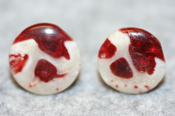 Handcrafted Fine Alligator Jaw Bone in a Red Revival Alumilite Cuff Links with 24 ct Gold Plated Bezels