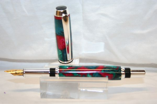Fountain Pen - Baron Fountain Pen - Mermaid Dream - Fusion Dyed Box Elder Burl and Alumilite Pen - Sterling Silver Finish - Handcraftd Pens - Handmade Pens - Pens - Silver Pen