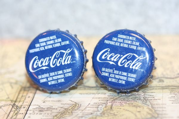 Cufflinks - Cuff Links - Quebec Maple Coke Cap Cufflinks - Handcrafted Cuff Links - Quebec Maple Coke Cap Cuff Links - Coca Cola Bottle Cap Cufflinks - Bottle Cap Cufflinks - Bottle Cap Cuff Links - Canadian Coca Cola