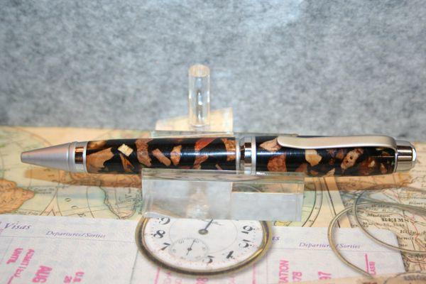 Cigar Pen - Crushed Burl in Black Lava Alumilite - Twist Pen - Wood Hybrid Pen - Finished in Two Tone Chrome - Ballpoint Pen - Writing - Pen