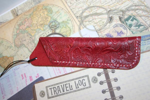 Leather Pen Sleeve - Red Floral Embossed Pen Sleeve - Handcrafted Red Dyed Leather Pen Sleeve - Pen Sleeve - 100% Premium Cowhide