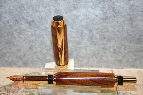 Wooden Pen - Fountain Pen - Baron Fountain Pen - African Mopane - Handcrafted Wood Pen - Writing - Handmade Pen - 24ct Gold Plate Finish