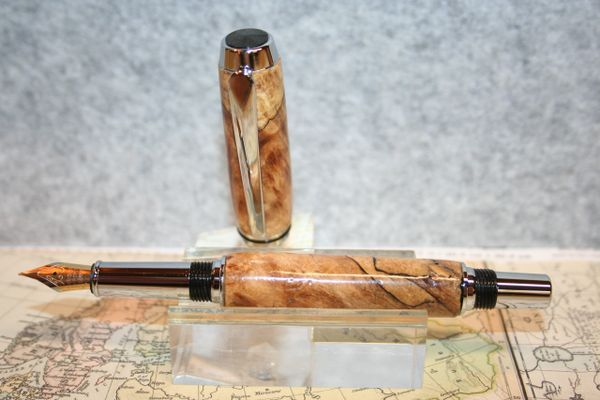 Fountain Pen - Baron Fountain Pen - Spalted Pecan Root - Wooden Pen - Chrome Finish - Writing Instrument - Handcrafted Pen - Pecan Root