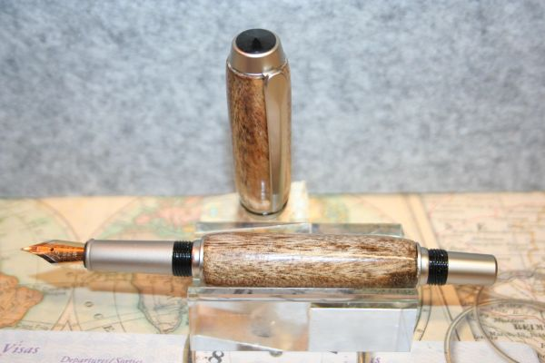 Fountain Pen - Baron Fountain Pen - Spalted Hawaiian Avocado - Wood Pen - Handcrafted Pen - Hand Turned Pen - Handmade Pen - Satin Nickel