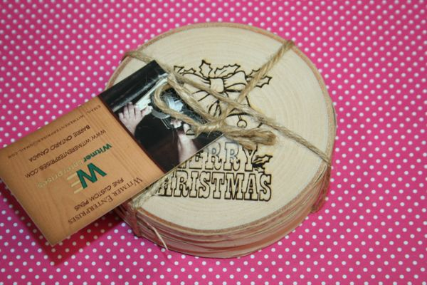 Coasters - Christmas Coasters - Handcrafted Live Edge White Birch - Wooden Coasters - Sealed Coasters - Set 2