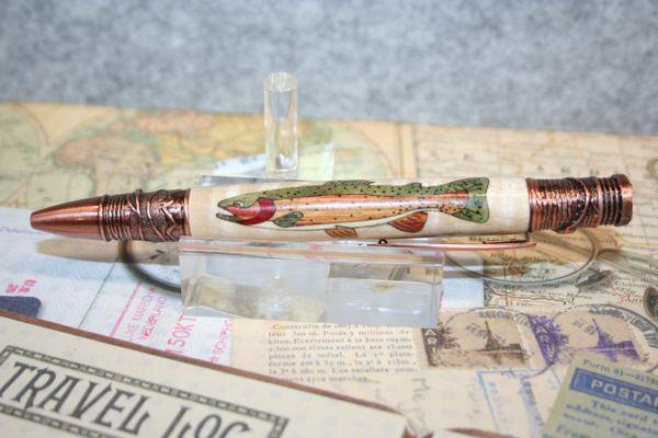 Fly Fisherman - Cutthroat Trout Inlay - Wooden Pen - Twist Pen - Antique Copper Finish - Fly Fishing Pen - Fishing Pen - Ballpoint Pen